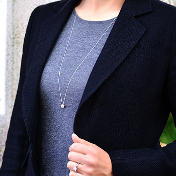 【受注発注品】ダイヤモンドペンダント ネックレス(チェーン付き)80cm ビッグフラワー 0.50ct K18WG [n9]