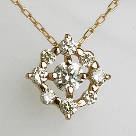 「ダイヤモンドペンダント ネックレス(チェーン付き)菱形モチーフ0.16ct K18PG」[n6]