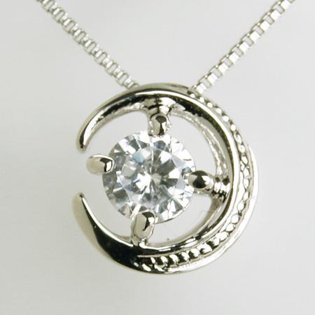 「ダイヤモンドペンダント ネックレス(チェーン付き)月と星モチーフ0.20ctK18WG」[n6]