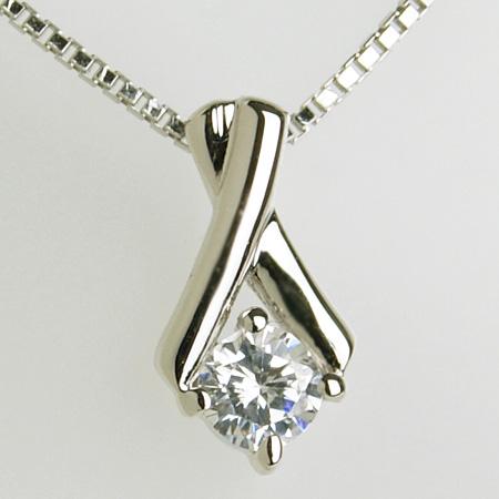 「ダイヤモンドペンダント ネックレス(チェーン付き)クロスライン0.15ctK18WG」[ダイヤ][18金][n6]