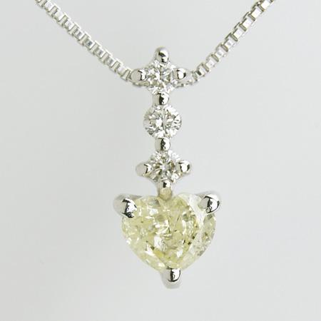 「ダイヤモンドペンダント ネックレス(チェーン付き)イエローハート0.5ctUPK18WG」[n6]