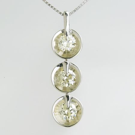 「ダイヤモンドペンダント ネックレス(チェーン付き)スリーストーン1.0ctUPPt900/Pt850」[n6]