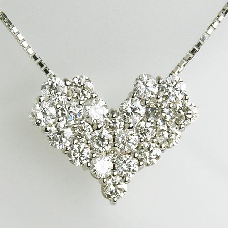 【受注発注品】ダイヤモンドペンダント ネックレス(チェーン付き)ハートパヴェ1.0ct K18WG [n9]