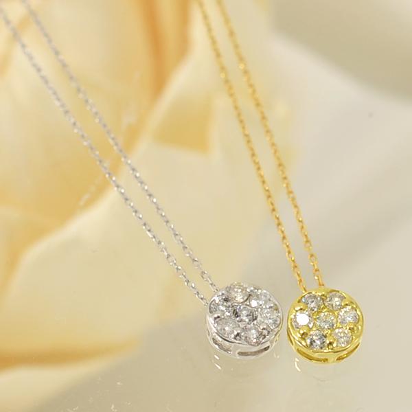 「[選べる]ダイヤモンドペンダント ネックレス(チェーン付き)ラウンドパヴェ0.25ctUP K18WG/K18」[ダイヤ][18金][n9]