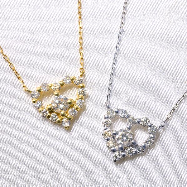 「選べる2色 ダイヤモンドペンダント(チェーン付き) ハートモチーフ 0.2ct K18WG/K18YG」[n2]