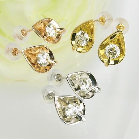 「ダイヤモンドピアス ドロップモチーフ ミラージュワン 0.3ctUP×2 K18WG/K18YG/K18PG」[ダイヤ][18金][n5]