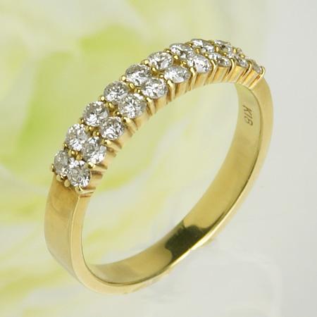 【受注発注品】クラウンモチーフ ダブルハーフエタニティ ダイヤモンドリング(指輪) 0.5ct K18 ゴールド [n9]