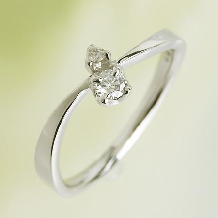 「ダイヤモンドリング ツーストーン 0.12ct K18WG」[n6]