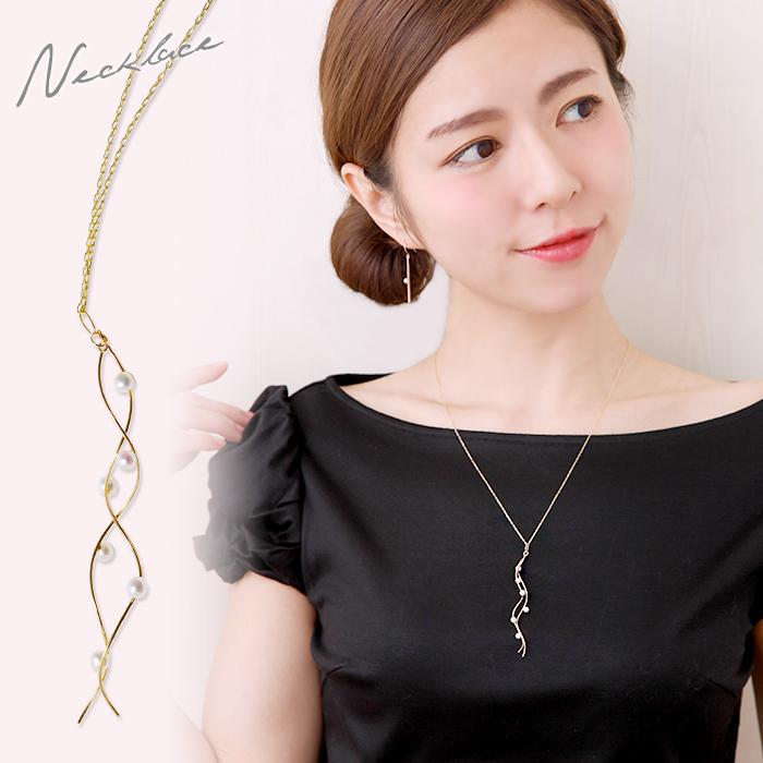 あこや真珠 ループネックレス(60cm ロングチェーン) K10YG 3.0-3.5mm ベビーパール 《enWSPジュエリー》[n4] 6月誕生石