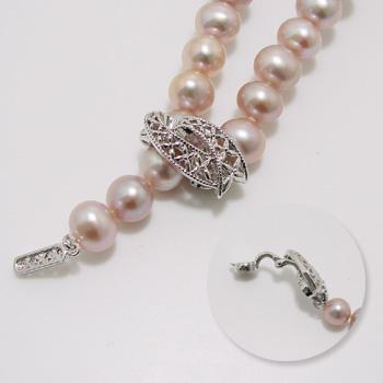 【受注発注品】リボンデザイン マグネット式 クラスプ 《真珠4~10mm対応》 シルバー(silver) [n5](真珠ネックレス用 留め具 パーツ)