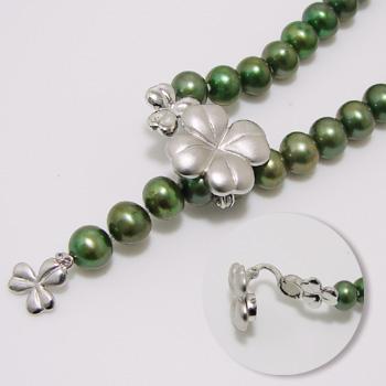【受注発注品】クローバーモチーフ マグネット式 クラスプ 《真珠4~10mm対応》 シルバー(silver) [n5](真珠ネックレス用 留め具 パーツ)