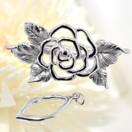 「透かし編みバラモチーフクリップ式クラスプ(silver)」(真珠用)[n5]