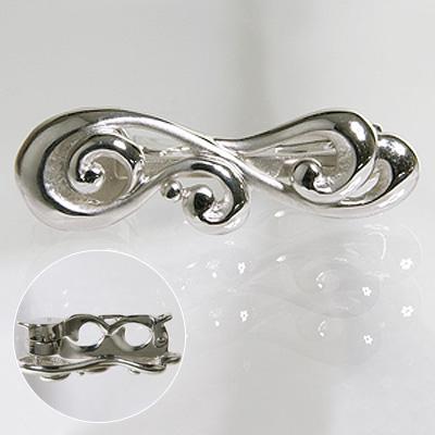 【受注発注品】ロングネックレス用 ウェーブラインデザイン ショートナー(クラスプ) 《真珠4~11mm対応》 シルバー(silver) [n5](真珠ネックレス アレンジ用 パーツ)