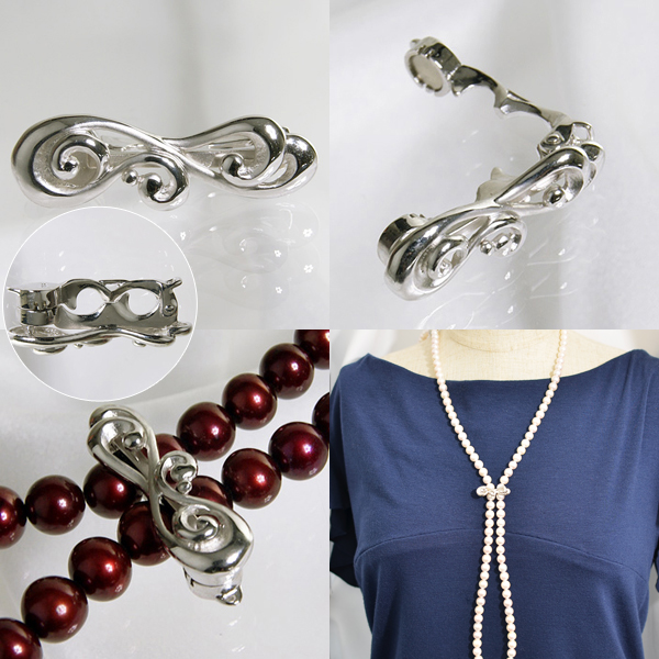 「ウェーブラインデザイン ロングネックレス用クラスプ(ショートナー)《真珠 4~11mm対応》(silver)」(真珠用)[パール/パールネックレス/ロングネックレス][n5]