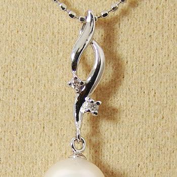 「2粒ダイヤとふんわり2ラインペンダントトップ金具(K14WG)」(真珠用)[n5]