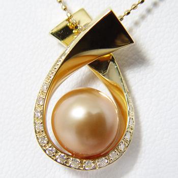 「ドロップリボンペンダントトップ金具(K18)」(真珠用)[n5]
