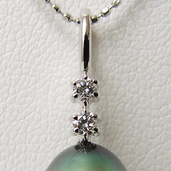 「2粒ダイヤペンダントトップ金具(K14WG)」(真珠用)[n5]