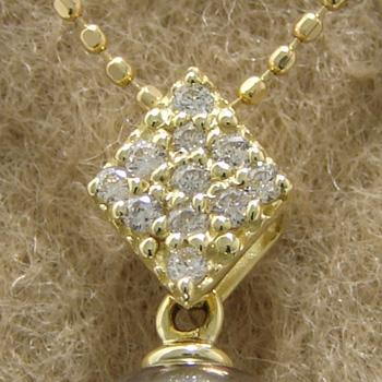 「菱形パヴェダイヤのペンダントトップ金具(K18)」(真珠用)[n5]
