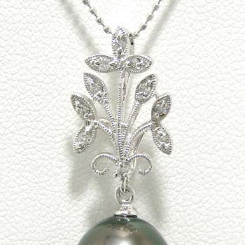 「植物モチーフペンダントトップ金具(K14WG)」(真珠用)[n5]