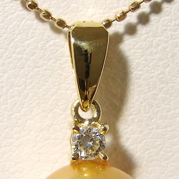 【受注発注品】0.08ct ワンポイントダイヤ ペンダントトップ金具 K18 ゴールド [n5][大きめの珠におすすめ](真珠 パール セミオーダー 加工用 パーツ)