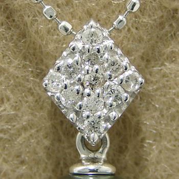 「菱形パヴェダイヤのペンダントトップ金具(K18WG)」(真珠用)[n5]