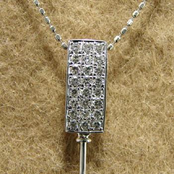 「スタイリッシュなスクエアパヴェペンダントトップ金具(K18WG)」(真珠用)新着金具[n5]