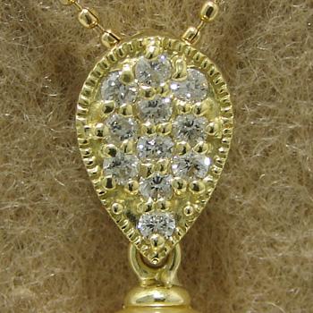 「雫型パヴェダイヤペンダントトップ金具(K18)」(真珠用)[n5]