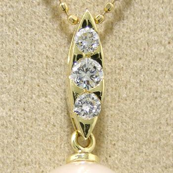 「3粒ダイヤのマーキス型ペンダントトップ金具(K18)」(真珠用)[n5]