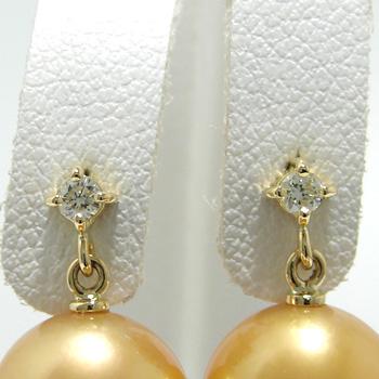 1粒ダイヤ スタッドブラピアス金具 K18 ゴールド 0.04ct×2[n5](真珠用 パール セミオーダー 加工 パーツ)