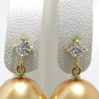 1粒ダイヤ スタッドブラピアス金具 K18 ゴールド 0.10ct×2[n5](真珠用 パール セミオーダー 加工 パーツ)