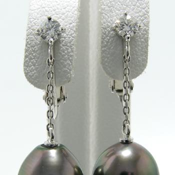 「0.10ct一粒ダイヤのチェーンイヤリング金具(K18WG)」(真珠用)[n5]