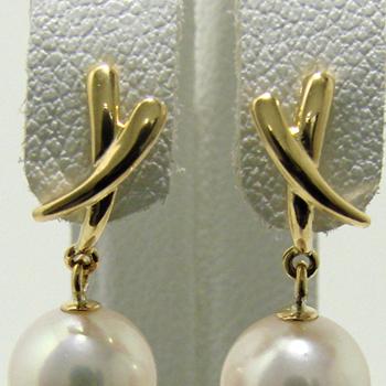「シャープなクロスモチーフピアス金具(K18)」(真珠用)[n5]