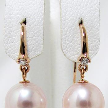 1粒ダイヤ アメリカン(フック)ピアス金具 K18PG ピンクゴールド 0.01ct×2[n4](真珠用 パール セミオーダー 加工 パーツ)
