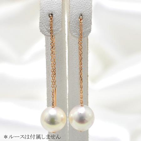 「アレンジ自在のチェーンピアス金具(あずきチェーン・7cm・K18PG)」(真珠用)[n5]