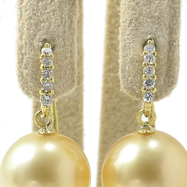 ダイヤ5石が輝く フックピアス金具 K18 ゴールド 0.05ct×2 【受注発注品】[n5](真珠用 パール セミオーダー 加工 パーツ)