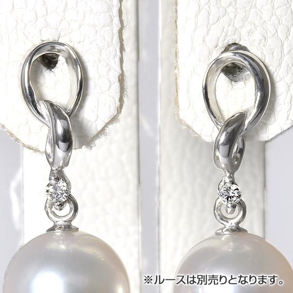 「1粒ダイヤ付きダブルリングデザインスタッドピアス金具 K18WG」(真珠用)[n6]