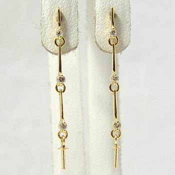 「ロング連結ラインピアス金具(K18)」(真珠用)[n5]