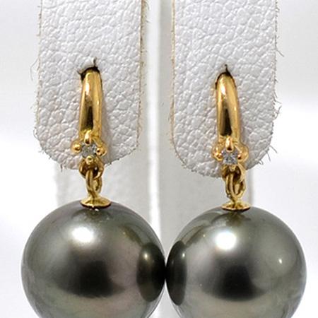 1粒ダイヤ アメリカン(フック)ピアス金具 K18 ゴールド 0.01ct×2[n4](真珠用 パール セミオーダー 加工 パーツ)