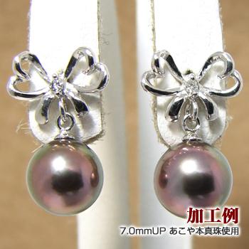 「ふんわりリボンピアス金具(K18WG)」(真珠用)[n6]