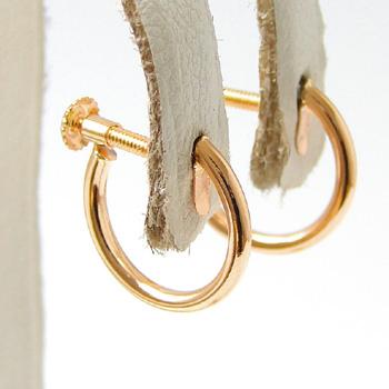 フープイヤリング K18PG ピンクゴールド (ねじ式/スクリュータイプ) チャーム取り付け可 パイプの太さ/約1.5mm (リングイヤリング)[ネコポス可][n5](真珠用 パール セミオーダー 加工 パーツ)