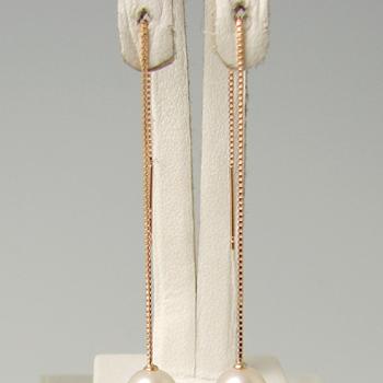 「チェーンピアス金具(ベネチアンチェーン・8cm・K18PG)」(真珠用)[n5]