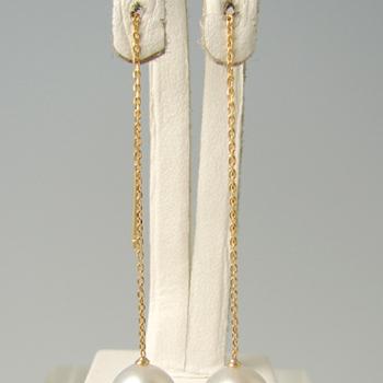 チェーンピアス金具(あずきチェーン・8cm 長め) K18 ゴールド [n5](真珠用 パール セミオーダー 加工 パーツ)