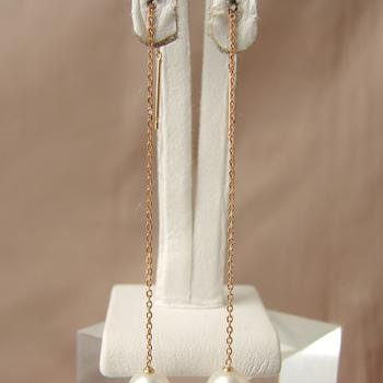 チェーンピアス金具(あずきチェーン・8cm 長め) K18PG ピンクゴールド [n5](真珠用 パール セミオーダー 加工 パーツ)