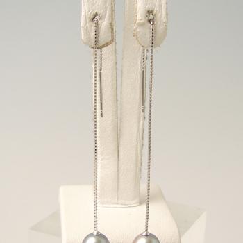 チェーンピアス金具(ベネチアンチェーン・8cm 長め) K14WG ホワイトゴールド [n4](真珠用 パール セミオーダー 加工 パーツ)