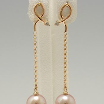 「マーキスラインがかわいいピアス金具(K18PG/K18)」(真珠用)新着金具[n5]