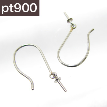 「アメリカン(フック)タイプピアス金具(Lサイズ/Pt900)」(真珠用)[n3]