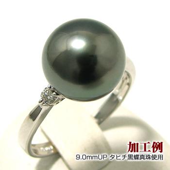 おすすめ「2粒ダイヤリング枠(指輪金具)(K18WG)」(真珠用)[n4]