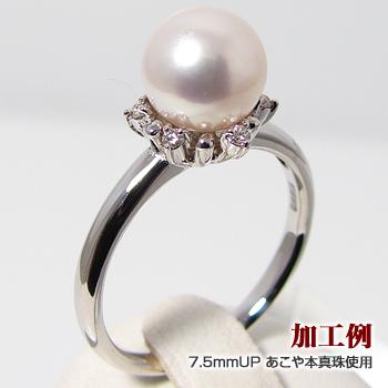 「ダイヤが真珠を包み込むリング枠(指輪金具)(K18WG)」(真珠用)[n5]