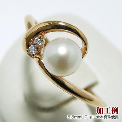 おすすめ「華奢ラインリング枠(指輪金具)(K18PG)」(真珠用)[n5]