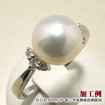 【受注発注品】真珠を包む6石ダイヤ リング枠(指輪金具) Pt900 プラチナ 0.11ct (8~10mm珠対応) [n5](真珠 加工用)